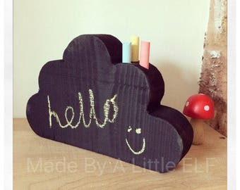 cloud chalkboard blackboard wooden chalk holder scandi shelf shelfie children gift
