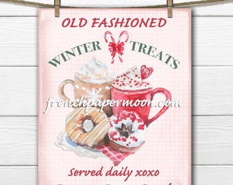 Christmas Digital Hot Chocolate Printable, Winter Sign, Watercolor, Old-fashioned, DIY Xmas Crafts, Large Image