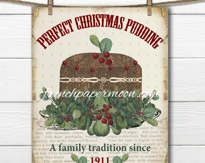 Vintage Printable Christmas Cake, Plum Pudding Graphic, Christmas Food, Ephemera, Vintage Christmas Cake Instant Download Image Transfer