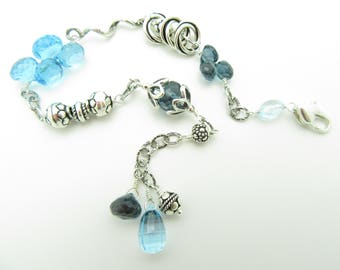 Handmade London and Swiss Blue Topaz with Moving Parts in Sterling Silver
