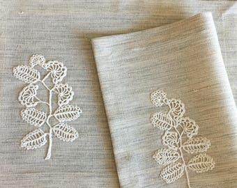 Linen Fabric Placemats Set 2 Crocheted Application