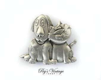 Vintage Dog Cat Brooch, Pewter Best Friends Pin, JJ Animal Jewelry