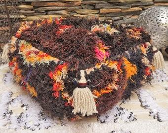 Moroccan Vintage Berber Upcycled Boucherouite Rug Floor Pillow Tassels Ottoman Pouf 03YS051