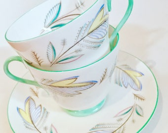 Shelley of England Teacup and Saucer (Duo) - Leaf Design - #2443 - green and soft pastel shades - Richmond style teacup - fine bone china