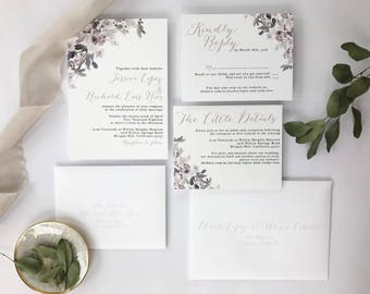 Lilac, Grey and White Wedding Invitations