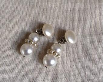 1950's faux pearl earrings.