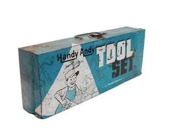 Vintage Tin Handy Andy Tool Box, Blue Metal Child's Tool Box, Rustic Condition, Box Only with NO Contents