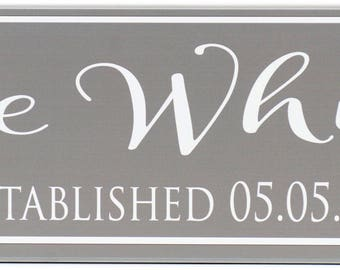 "Personalized Family Name Sign Last Name Sign Established 7""x24"""