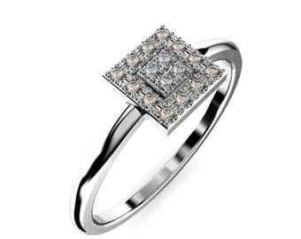 14K  white  Gold  Ring in vintage classic style and 16 diamond 1 mm. 0.10 TW