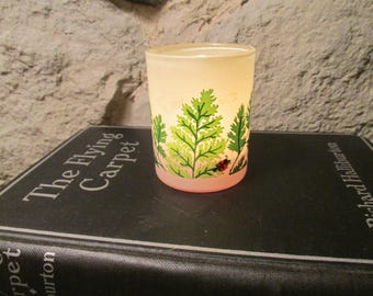 Fern and Lady Bug Votive or Tealight Holder Glass by Hallmark Candle 1970s