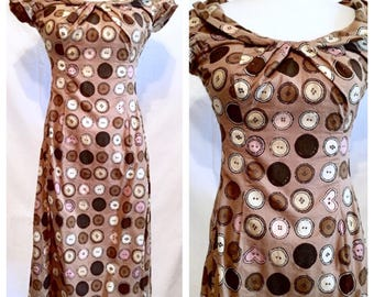 MOSCHINO Cotton Button Print Dress, Flattering Cut, Lightweight for Summer, Perfect Moschino Style!