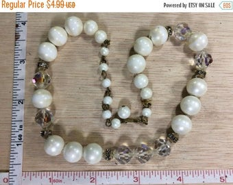 """10% OFF 3 day sale Vintage 16"""" Necklace Aurora Borealis And White Beads Used"""