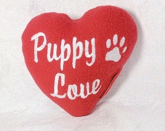 Valentine Dog Toy with Squeaker, Squeaky Dog Toy Made in US, Puppy Love, Paw Print, Plush Squeaker Dog Toys, Dog Valentine Gift