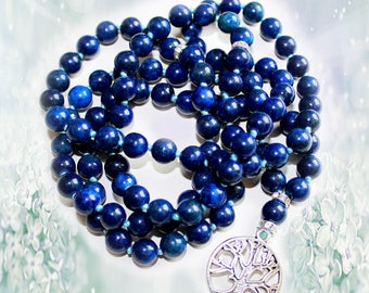Lapis Lazuli Japa Mala Hand Knotted 108   Gemstone 8mm Beads Prayer Yoga Necklace for Meditation and Mantra - free Shipping