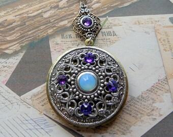 Victorian Locket, Vintage Style Locket, Photo Locket, Picture Locket, Silver and Brass Necklace Locket, Swarovski Crystal Necklace