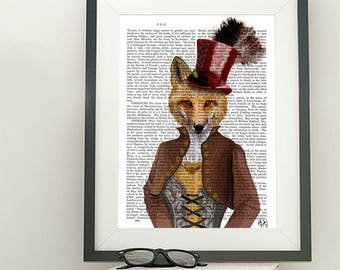 Fox Poster - Vivienne Fox Print - fox art foxy lady funny animal gift for girlfriend Kids room wall art fox wall art Whimsical Animal art