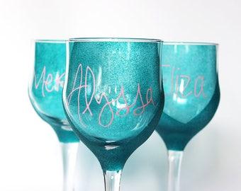 Fully Customizable Bridesmaids Glasses - Hand Painted | , Wedding, Celebration, Decor, Gift, Custom, Keepsake, Brides Maid