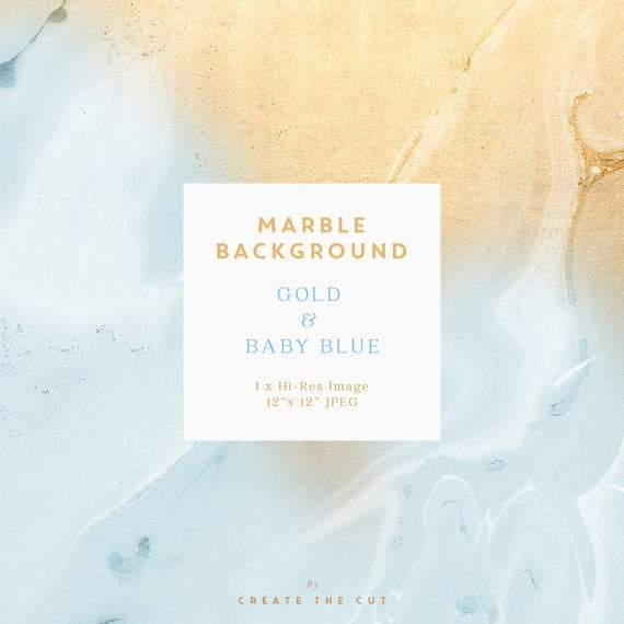 Marble Background Digital Paper Gold & Baby Blue Marble