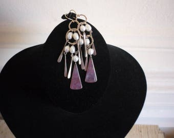 Stunning Vintage RLM Robert Lee Morris Sterling Silver Cultured White Pearl 14K Gold Modernistic Dangling Long Earrings