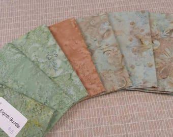 Batik textiles fat 1/8 bundle of 8 of soft blues and tan