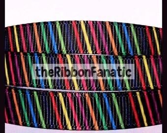 "40% off 5 yds 3/8"" Rainbow Diagonal Striped Stripe Black Print Printed Grosgrain Ribbon"