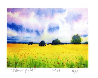 Original art print Yellow field original glicée print yellow art yellow landscape yellow field decor printing decor original wall art