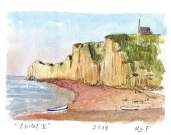 "Fine art print glicée ""Étretat II"" Normandy wall decor printing art landscape art painting normandy art french decor sea decor"