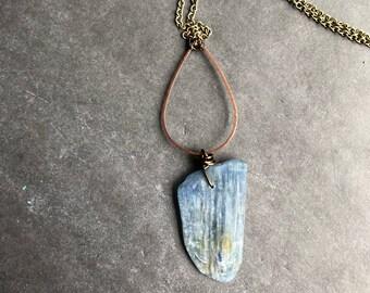 Kyanite necklace boho necklace stone necklace rustic necklace tribal necklace blue necklace boho jewelry tribal jewelry long necklace