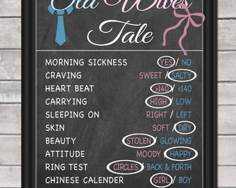 OLD WIVES TALE Gender Reveal Party Game digital file