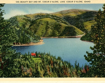 Beauty Bay & Mt Coeur d'Alene Idaho Vintage Postcard 1941