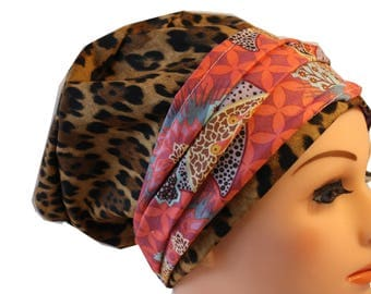 Scrub Hat Cap Chemo Bad Hair Day Hat  European BOHO Banded Pixie Tie Back Animal Print with Pink Multi Paisley Band 2nd Item Ships FREE