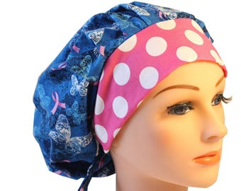 Scrub Cap Surgical Hat Chef  Dr  Hat Bouffant Pink Ribbon Blue Lacey Butterflies 2nd Item Ships FREE