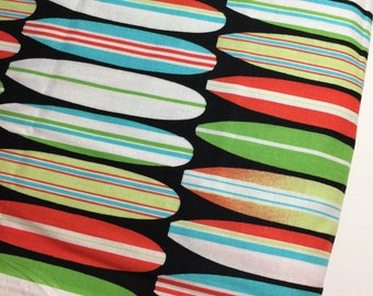 Shark Bite Fabric by Mark Hordyszynski for Michael Miller DC5448-SEAS-D Surf Boards - 100% Premium Quality Cotton by the Yard and Yardage