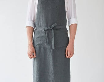 Forest Green Linen Stone Washed Chef Apron