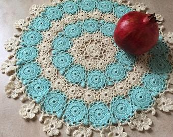 Crochet doily Lace doily  Cotton doily Crocheted doily Round doily Flowers doily Round crochet doily Crochet doilies  Table decor