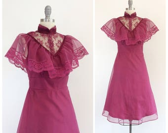 70s Purple Chiffon Prairie Dress / 1970s Vintage Gunne Sax Dress / Small / Size 4