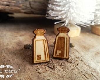 Salt Pepper Shaker Wooden Cufflinks Seasoning Herbs Dad Grooms Best man Groomsman Rustic Wedding Birthday Gift Cuff links