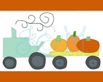 4x4 Pumpkin Tractor Hayride VIntage Style Applique Embroidery Design