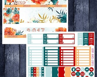 On Sale June Floral Monthly Stickers for HAPPY PLANNER
