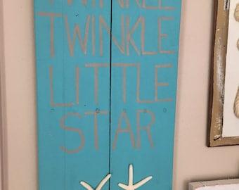 Rustic Beach Sign//Twinkle Twinkle Little Star Sign//Nursery Decor//Beach Decor//Beach Sign//