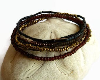 Multistrand bracelet, stretch bracelet, seed bead jewelry, bohemian bracelet, colorful bracelet, gift for mom, layering bracelet, boho chic