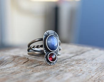 Sterling Silver Kyanite Garnet Stone Multiple Band Ring Statement Size EU 60/ USA 9