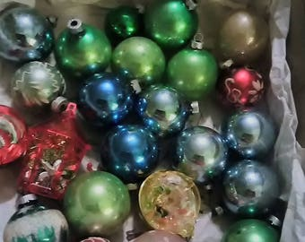 Shiny Brite Christmas Ornaments. Box of 24. Mixed all made in USA.