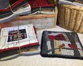 """Rug Hooking Kit, Cardinal Birdhouse Mat, 8"""" x 8""""  K133"""