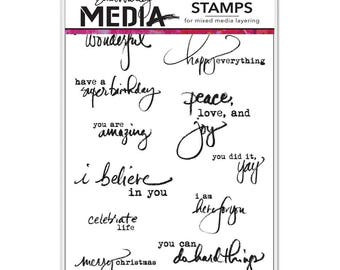 Dina Wakley Cling Stamp Set Dina Wakley Media JUST WHAT To SAY MDR50391 1.cc11
