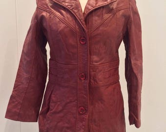 60's 70's vintage red leather jacket size 6/8