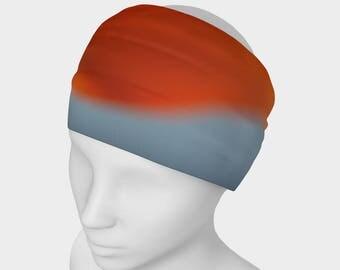 Flower Yoga headband, Workout Headband, No Slip Headband, Orange HairBand, Nature Headband, Running Headband, Active Wear, Spandex Head Wear