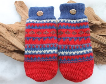 Wool sweater mittens lined with fleece with Lake Superior rock buttons in red, white and blue, Valentines, coworker gift, birthday