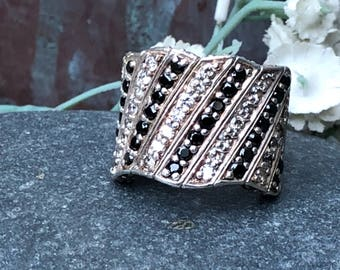 Fantastic black and white sterling cz and onyx wide band statement ring size 7