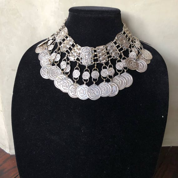 Vintage tribal White metal  bib necklace
